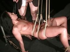 Sexy slut getting bondaged and anal fucked
