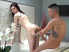 Inked-up teen fucked in a hot tub