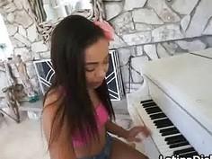 Ebony teen gf fucked on piano