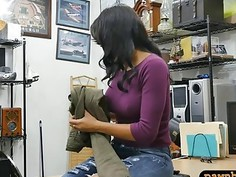 Pierced nipples babe gets her pussy pounded by pawn guy