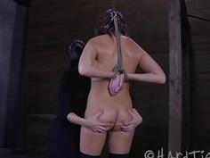 merciless dominatrix lesbian decreased her Bondage slave girl 6