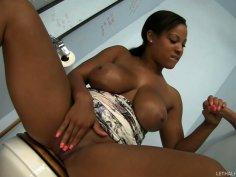 Saggy tittied Natasha Dulce jerks cock sticking out the wall hole
