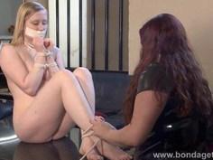 Blonde fetish babe Satine Sparks lesbian bondage
