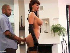 Dark mistress Aletta Ocean pleases black dick on the couch