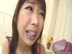Chubby asian teen Aiuchi Shiori gives touchy blowjob