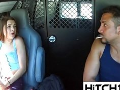 Hot babe hitches ride with creepy stranger who lures her