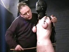 Sensory deprived slaveslut Cherry Torns leather