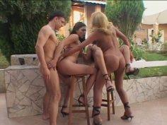 Monica Mattos, Lorena Smith and Tayane Tavarez poolside sex fun