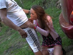 Albina & Ava & Taylor & Zoe in sexy student girl giving a wonderful blowjob