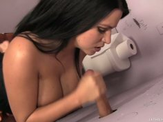 Too serious brunette Lacie James gives a solid blowjob in the toilet