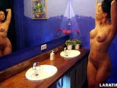Hot body Latina running around naked in a hotel