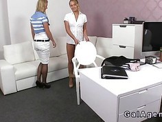 Blonde eats cunt to her female boss