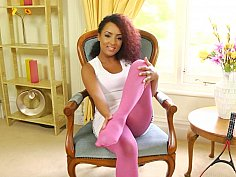 Black babe in a pink pantyhose