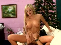Cute blonde Brooke Belle rides cock on the couch